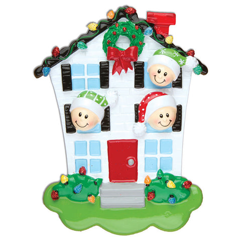 OR976-3 - House Family of 3 Personalized Christmas Ornaments