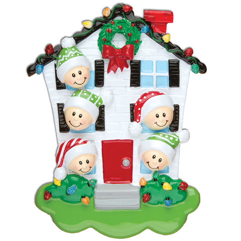 OR976-5 - House Family of 5 Personalized Christmas Ornaments
