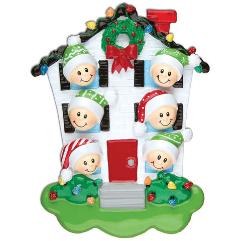 OR976-6 - House Family of 6 Personalized Christmas Ornaments