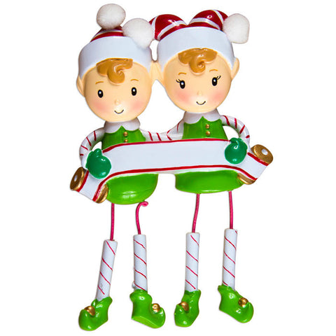 OR983-2 - Dangling Elf Family Couple Personalized Christmas Ornaments