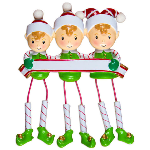 OR983-3 - Dangling Elf Family Family of 3 Personalized Christmas Ornaments