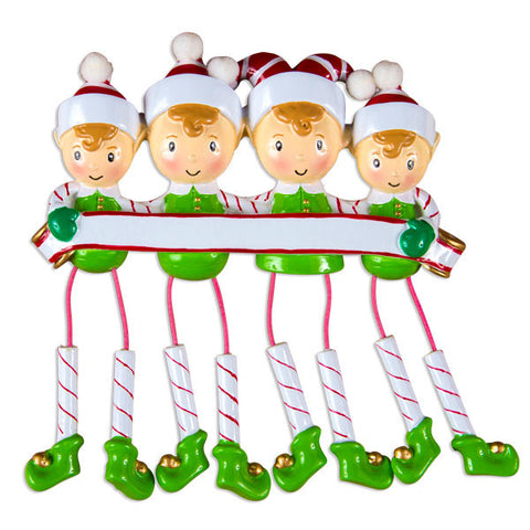 OR983-4 - Dangling Elf Family Family of 4 Personalized Christmas Ornaments
