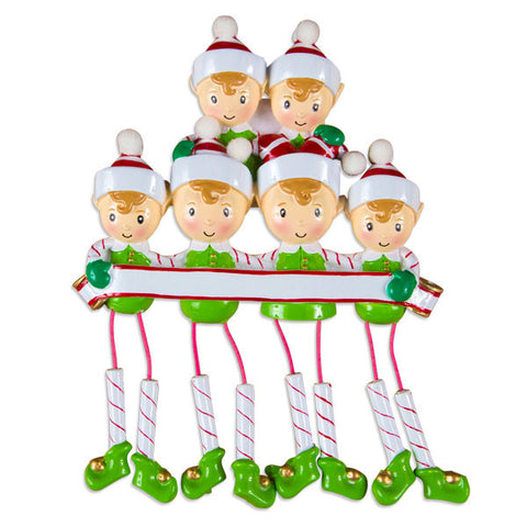 OR983-6 - Dangling Elf Family Family of 6 Personalized Christmas Ornaments