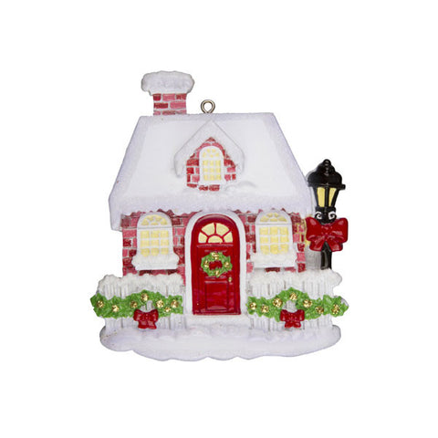 OR995 - New Red Brick House Personalized Christmas Ornaments