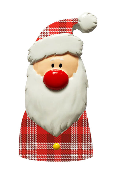P18-03-012 - Santa with Plaid Scarf and Hat Personalized Christmas Ornament