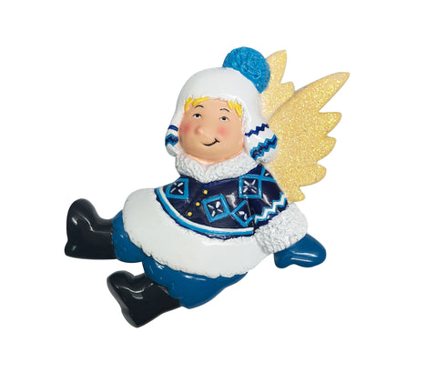 P18-03-022 - Angel in Winter Suit Personalized Christmas Ornament