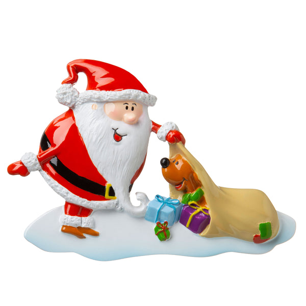 P18-03-033 - Santa with Dog 2 Personalized Christmas Ornament