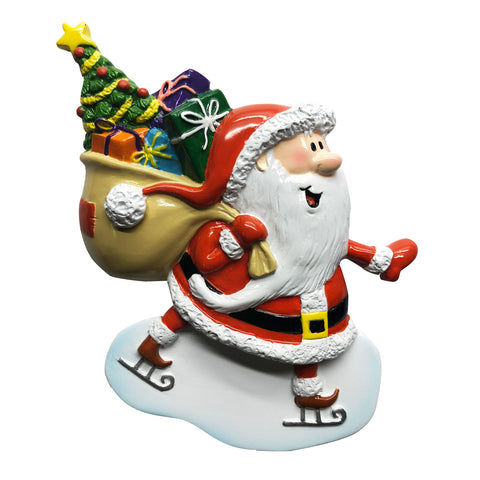 P18-03-034 - Santa on Ice Skates Personalized Christmas Ornament