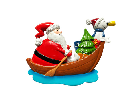 P18-03-051 - Santa in Boat Personalized Christmas Ornament