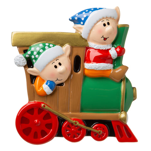 P18-03-054 - Elves on a Train Personalized Christmas Ornament