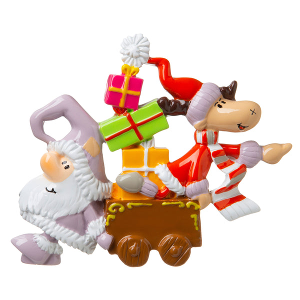 P18-03-065 - Santa and Reindeer with Presents Personalized Christmas Ornament