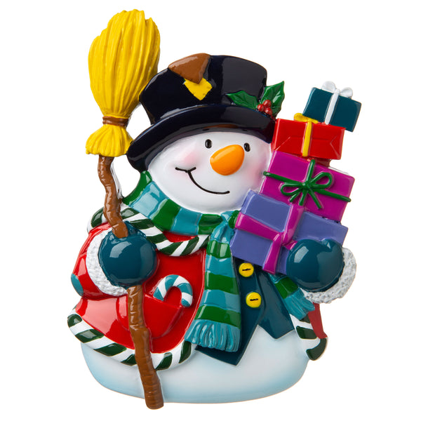 P18-03-081 - Snowman with Presents Personalized Christmas Ornament