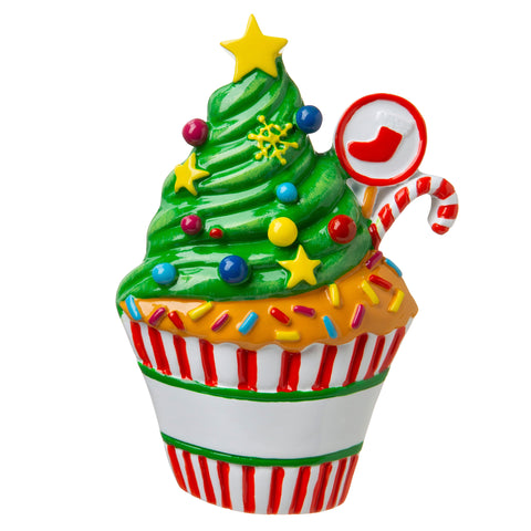 P18-03-123 - Cupcake 3 Personalized Christmas Ornament