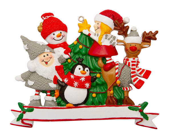 P18-03-832 - Family of 5 with Christmas Tree Personalized Christmas Ornament