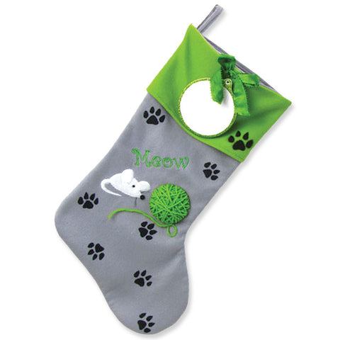 PBS135 KP - Kitty Paws Personalized Christmas Stocking