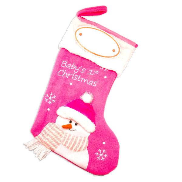PBS144 BG - Pink Baby's First Personalized Christmas Stocking