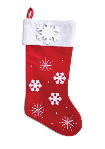 PBS152 PF-RED -  Snowflakes and Picture Frame (Red) Personalized Christmas Stocking