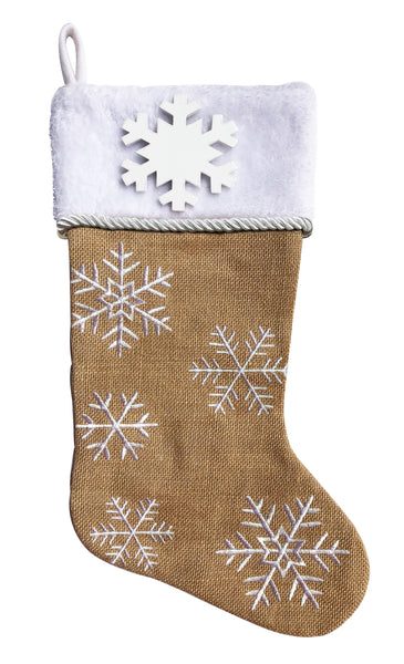 PBS153 B/SF -  Brown Burlap with Snowflakes Personalized Christmas Stocking