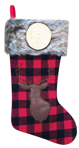PBS156 RB - Red & Black Plaid with Brown Reindeer Personalized Christmas Stocking