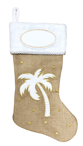 PBS162 PT - Palm Tree Coastal Personalized Christmas Stocking
