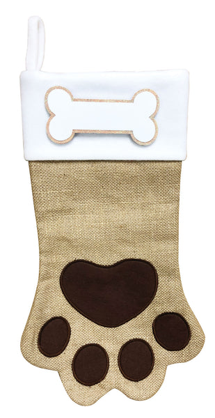 PBS165 DP-BROWN -  Dog Paw (Brown & Black) Personalized Christmas Stocking