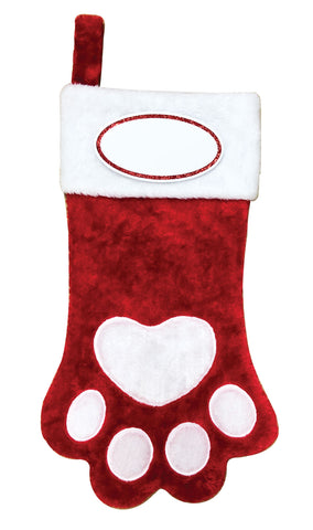 PBS165 DP-RED -  Dog Paw (Red & White) Personalized Christmas Stocking