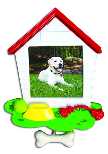 PF1049 - Dog House Picture Frame Personalized Christmas Ornament