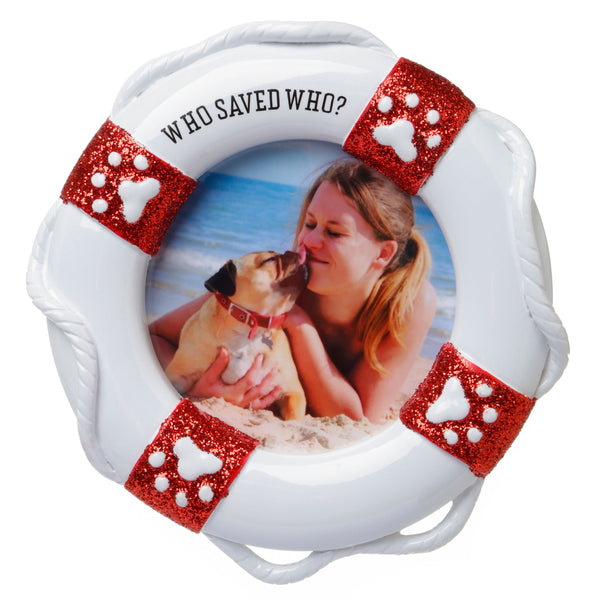 PF1713 - Who Saved Who? Picture Frame Personalized Christmas Ornament