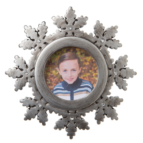 PF1714-PEWTER - General Snowflake Picture Frame Personalized Christmas Ornament