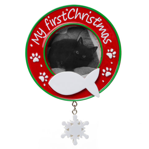 PF1716 - My First Christmas (Cat) Picture Frame Personalized Christmas Ornament