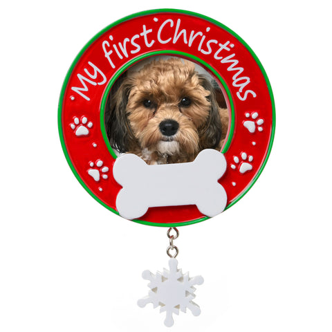 PF1717 - My First Christmas (Dog) Picture Frame Personalized Christmas Ornament