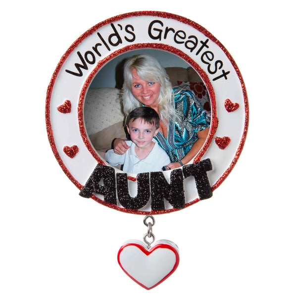 PF1769 - World's Greatest Aunt Picture Frame Personalized Christmas Ornament
