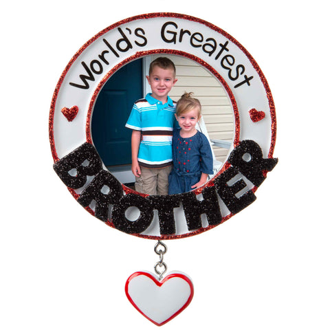 PF1770 - World's Greatest Brother Picture Frame Personalized Christmas Ornament