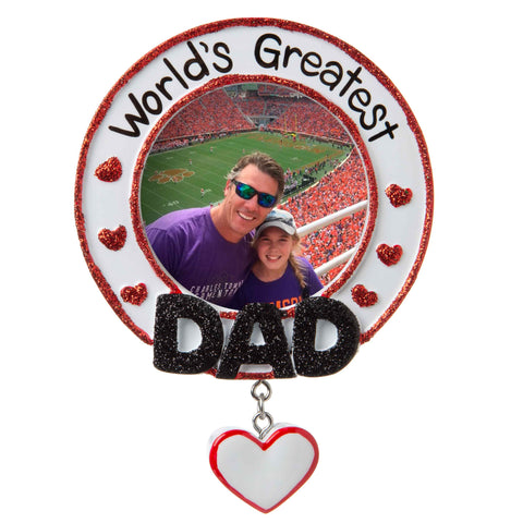 PF1771 - World's Greatest Dad Picture Frame Personalized Christmas Ornament