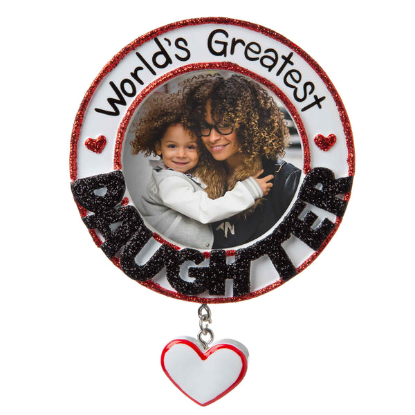 PF1772 - World's Greatest Daughter Picture Frame Personalized Christmas Ornament
