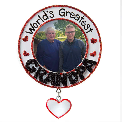 PF1773 - World's Greatest Grandfather Picture Frame Personalized Christmas Ornament