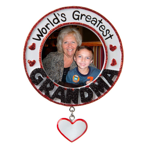 PF1774 - World's Greatest Grandmother Picture Frame Personalized Christmas Ornament