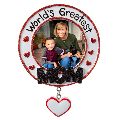 PF1775 - World's Greatest Mom Picture Frame Personalized Christmas Ornament