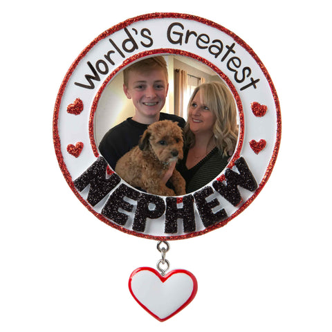 PF1776 - World's Greatest Nephew Picture Frame Personalized Christmas Ornament