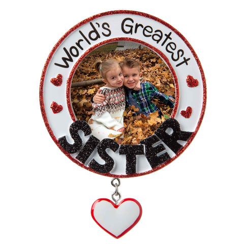 PF1778  - World's Greatest Sister Picture Frame Personalized Christmas Ornament