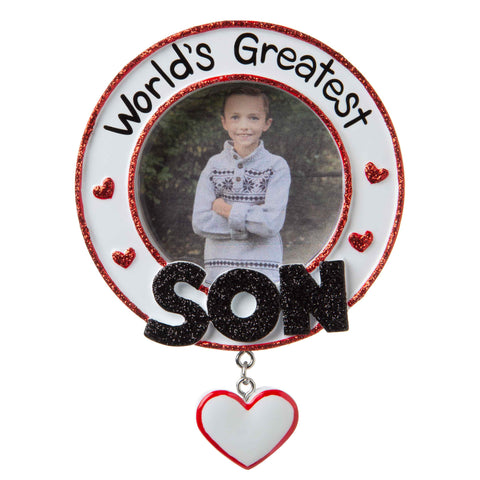 PF1779 - World's Greatest Son Picture Frame Personalized Christmas Ornament