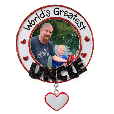 PF1780 - World's Greatest Uncle Picture Frame Personalized Christmas Ornament