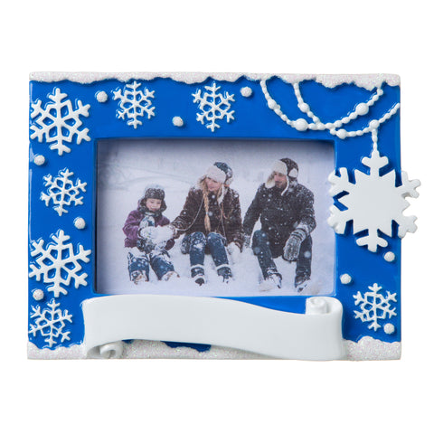 PF1852-B - Snowflake Picture Frame (Blue) Personalized Christmas Ornament