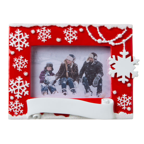 PF1852-R - Snowflake Picture Frame (Red) Personalized Christmas Ornament