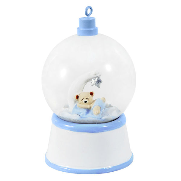 SG006-B - Baby Bear and Moon (Blue) Personalized Christmas Snow Globe
