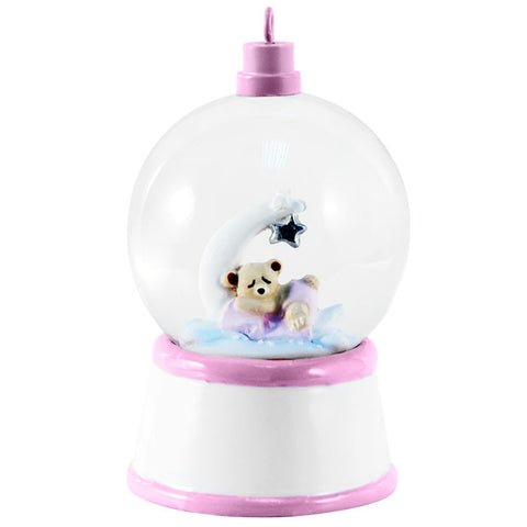SG006-P - Baby Bear and Moon (Pink) Personalized Christmas Snow Globe