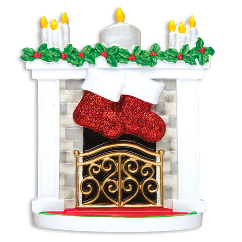 TT1253-2 - Mantle with Christmas Stockings Table Topper (Family of 2)