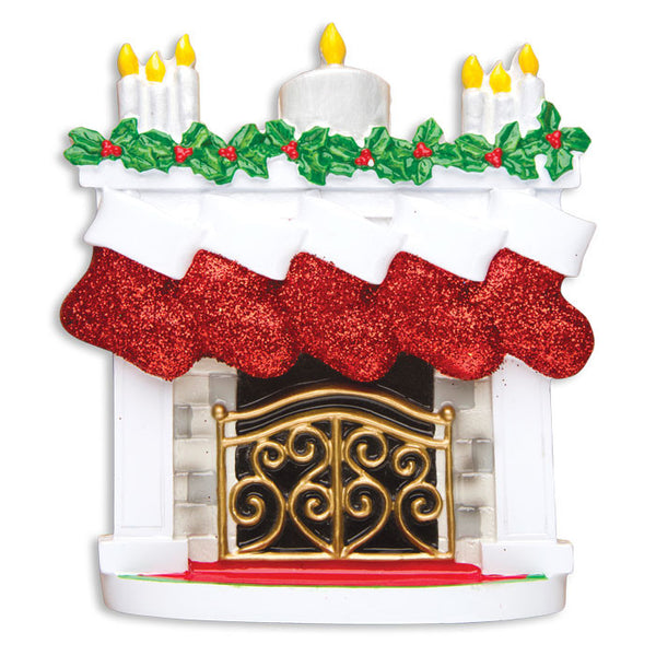 TT1253-5 - Mantle with Christmas Stockings Table Topper (Family of 5)