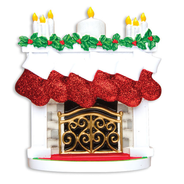 TT1253-6 - Mantle with Christmas Stockings Table Topper (Family of 6)