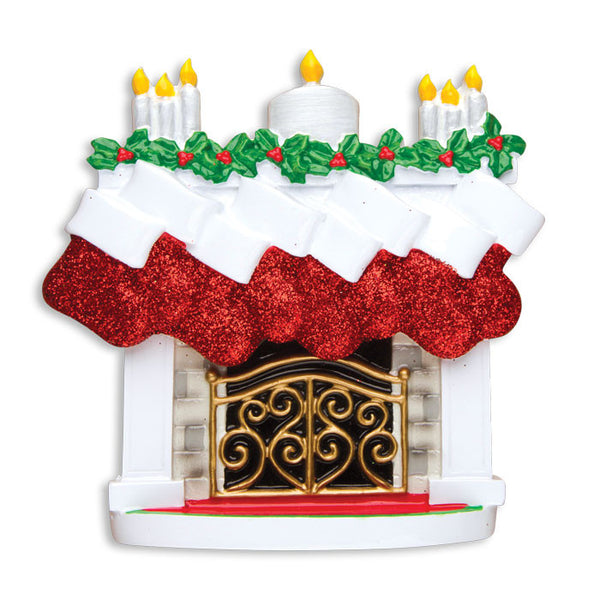 TT1253-8 - Mantle with Christmas Stockings Table Topper (Family of 8)